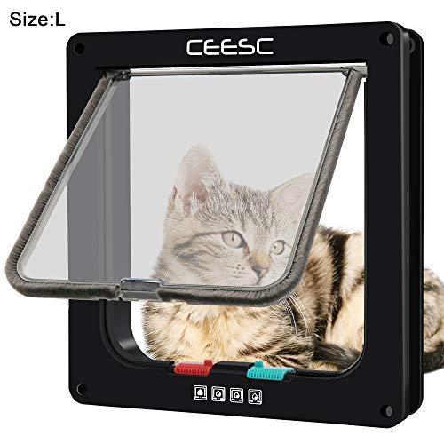 CEESC Katzenklappe mit Magnetverschluss, mit 4 Wege-Schloss, für Welpen und kleine Hunde, in 3 Größen und 2 Farben erhältlich(L,schwarz)