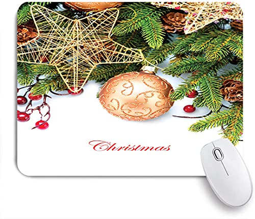 PATINISA Mouse Pad Mouse Mat,Holly Berries Tree Topper Baubles Vintage Seasonal Ornaments Pine,Gaming Mouse Pad Custom for Laptop,Computer and PC Home Office Working