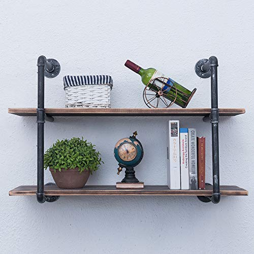 Rustic Metal and Wood Wall Shelf Unit 4 Tier,48in Industrial Shelving Iron Wall Shelves,Farmhouse Floating Bookshelf Wall Mounted,Floating Real Wood Book Shelves for Bedrooms Office(Black)