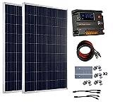 Eco-Worthy Kit de panneaux solaires hors réseau 200 Watt 12 V/24 V – 2 panneaux solaires 100 W polycristallin + contrôleur intelligent régulateur solaire 20 A pour Système de chargement 12 V ou 24 V
