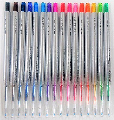 RFZA Uni StyleFit Gel Ballpoint Pen UMN-139-05, 0.5 mm, 16 Colors Set with Original Vinyl Pen Case