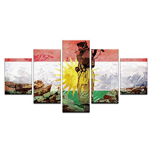 Artzon 5 Panel Wandkunst Leinwand Modulare Bild Hd Kurdischer Soldat Flagge Hd Bilder Dekoration@ 30X45Cmx2 30X55Cmx2 30X70Cmx1-Ohne Rahmen