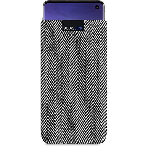 Adore June Business Tasche für Samsung Galaxy S10 Handytasche aus charakteristischem Fischgrat Stoff - Grau/Schwarz | Schutztasche Zubehör mit Bildschirm Reinigungs-Effekt | Made in Europe
