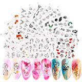 Abstract Face Nail Art Stickers, KISSBUTY 16 Sheets Abstract Sexy Girl Leaf Nail Water Transfer Stickers Wraps Adhesive Monstera Nail Art Tattoos DIY Abstract Face Geometry Design Nail Decals