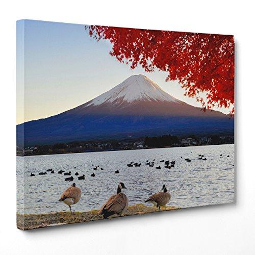 Cuadro sobre lienzo Canvas–ConKrea–Listo para colgar–Monte Fuji de–Lago Kawaguchiko–Japón