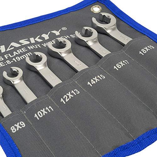JUEGO de llaves para tubos de freno I de 6 piezas I llave anular abierta I llaves para tubos de freno I tubo de frenos de 8-19 mm