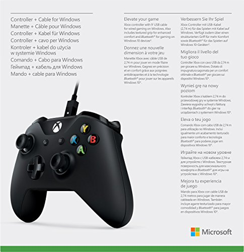 Microsoft 4N6-00001 Xbox Controller + Cable for Windows, Black