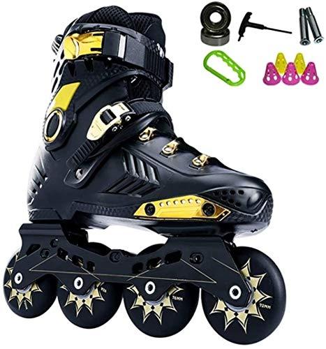 LDGF Pattini in linea regolabile Roller 4 ruote Pattinaggio in linea Patines Scarpe per ragazzo ragazza Street Skating Patines 35-44 Protezione completa (Colore: Nero A, Taglia : EU 38US 6UK 5JP 24cm)