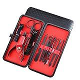 NailGlam Set de manicura, cortador Acero inoxidable 7-18 PCS Manicura tijeras Set Clipper Earpick de pedicura para hombres/mujeres Recortador-rojo_11 sets