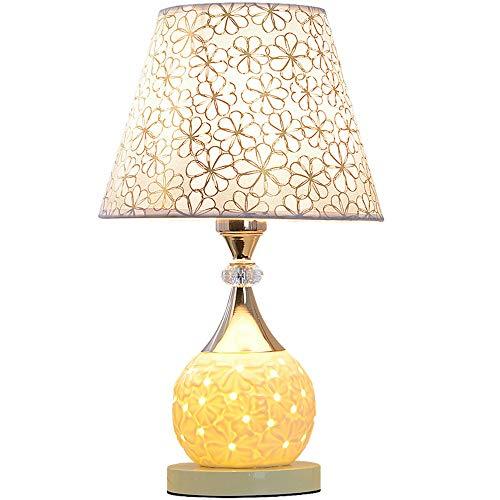 HtapsG Lámpara Escritorio Lámpara lámpara de Mesa lámpara de Noche lámpara de Noche Creativa romántica cálida Boda Regulable cálido luz cerámica Decorativa lámpara de Mesa (Color : Beige)