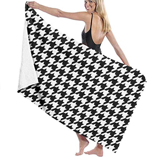 Black And White Houndstooth Check Ultra Soft Sand Free Microfiber Beach Towel Oversize Beach Blanket Super Water Absorbent Multi-Purpose Bath Sheet Pool Travel Beach Throw Towel The Best Creative Gift
