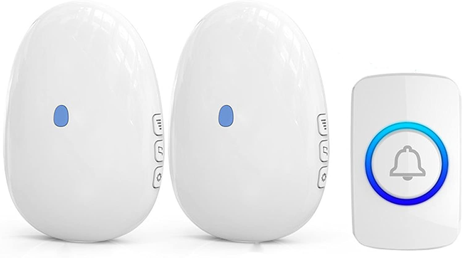Lwj Wireless doorbell, waterproof doorbell with 1 plugin receiver and 1 push button transmitter (with battery), 400 feet working, 4 adjustable volume, 57 bells (color   2 host+1 button (white))