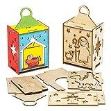 Baker Ross AX558 Weihnachtskrippe Laternen aus Holz Bastelset für Kinder - 3 Stück, Festliche Kreativsets und Bastelbedarf zum Basteln und Dekorieren zur Weihnachtszeit