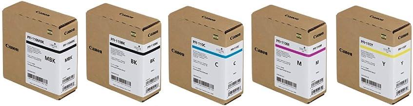 Canon PFI-110 Pigment Ink Tank Kit (Matte Black, Black, Cyan, Magenta, Yellow) in Retail Packaging