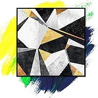 パーソナライズされた多角形の幾何学的な芸術、3D抽象絵画油絵キャンバスウッドの内側リビングルームのベッドルームのフレームの壁の装飾なし、130X130Cm(52X52Inch)