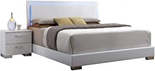 Major-Q Contemporary Modern White Finish PU Queen Size Bed with LED Headboard (7022640AQ)