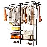 Rack de ropa robusta riel colgante Ropa independiente Ready-à-porter de almacenamiento organizador del armario Heavy Metal armario de la suspensión para abrigos ( Color : Black , Size : 86x44x174cm )