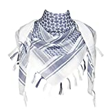 Explore Land Cotton Shemagh Tactical Desert Scarf Wrap (White and Blue)