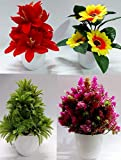 Package contains: 4 Artificial plants with pot Durable : It works life long, washable Uses: Best for home decoration and gifting purposes