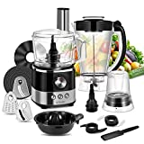 KTMAII Food Processor Blender Combo, Food Chopper with 7-Cup Mixing Bowl, Juicer, Grinder, Mashing Blades, Dough Blade, 3 Cutting Blades and 1 Disc, 650 Watts Base, Black