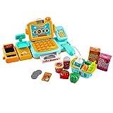 deAO Supermarktladenset für Kinder - Zubehör beinhaltet Registrierkasse, Einkaufsstand, Waage,Scanner und Einkaufskorb. -