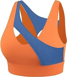 Sports Bra Yoga Bra Crop Top Irregular Splice Orange Sports Underwear Women Shockproof Gathered Yoga Bra Training Fitness ...