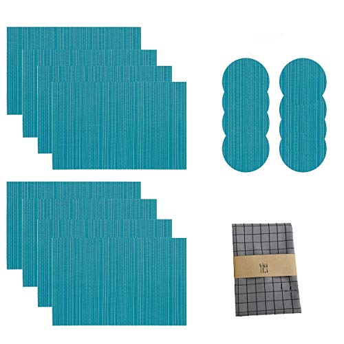 Desun Set of 8 Placemats and Coasters & Napkin Towel Free Washable Heat Insulation Non-slip Woven Vinyl Table Mats for Kitchen and Dining Room (Turquoise)