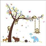 Kibi Albero Colorato Simpatici Leone Scimmie Elefante Adesivi Murali, Camera dei Bambini V...