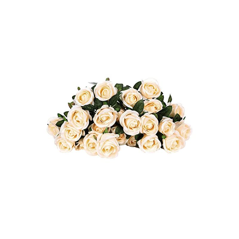 silk flower arrangements fulehouzz 2 bundles 24 heads artificial rose flower bridal bouquet silk rose bulk for wedding home valentine's day party decor, champagne