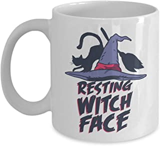 Witty Sarcastic Coffee Mug - Resting Witch Face - Sarcasm Funny Poker Face Witch Hat Broom Black Magic Magical Wizard Mood Expression 11 Oz