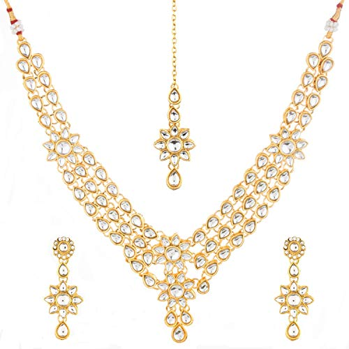 Efulgenz Indian Crystal Kundan Bollywood Gold Plated Bridal Wedding Choker Necklace Earring Maangtikka Jewellery Set