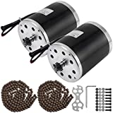 BestEquip 2Pcs 500W 36V Electric Brushed Motors 2400RPM DC Motor with Sprockt Chains for DIY Tricycle E-Bikes Electric Scooters