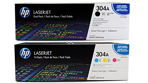 5x Toner SPARSET (BK,C,M,Y) MULTIPACK Original zu HP Laserjet CM 2320 / CM 2323 / CM 2720 / CP 2020 / CP 2024 / CP 2025 / CP 2026 / CP 2027 DN N, 2x black / schwarz, je 3.500 Seiten, 1x magenta / rot, 1x cyan / blau, 1x yellow / gelb, je 2.800 Seiten, ersetzt 30A, 31A, 32A, 33A, CC530A, CC530AD, CC531A, CC532A, CC533A, CF372AM, 304A