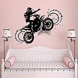 T-YIFUZX Fou Moto Autocollant Mural garçon Sport Autocollant Mural pour Salon Chambre Maison de Vacances décoration Faisant Vinyle Autocollant Mural 57x74CM