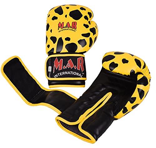 M.A.R International Ltd. Boxing Gloves Kickboxing Thai Boxing Mma Muay Thai Leopard Design Yellow/Black 10Oz 10Oz