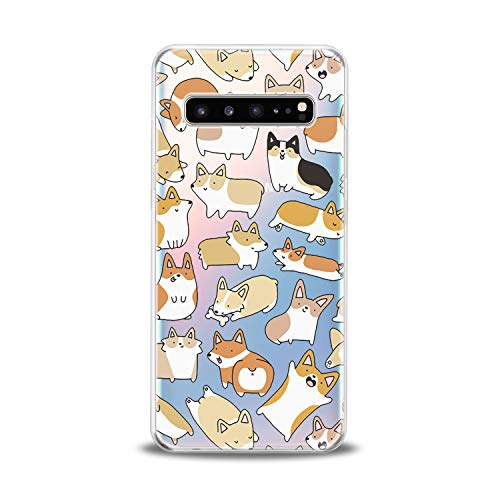 Anreda Silicone Phone Case for Samsung Galaxy S20 S10 Plus Note 20 5G S9 S8 S7 Funny Corgi Cute Puppy Print Kawaii Girly Dogs Clear Art Design Pattern Soft Cute Flexible Animal Smooth Cover Slim fit