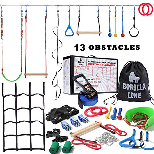 Hyponix Sporting Ninja Warrior Obstacle Course for Kids - 60' Ninja Slackline 13 Obstacles – Obstacle Course for Kids Backyard – Ninja Warrior Training Equipment for Kids Monkey Bars, Monkey Ladder