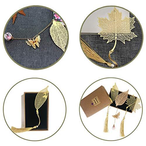 3 marcadores de metal, un marcador tiene un colgante de flor seca y una mariposa 3D. El marcador tiene elegantes borlas de hojas. Es el mejor regalo para lectores, mujeres y niños.(hoja de metal)