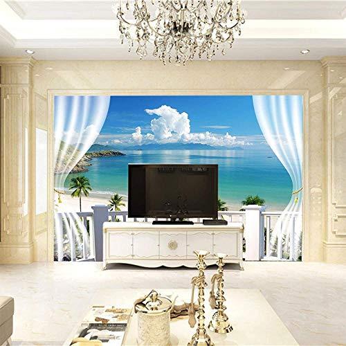 Papel mural cielo azul planta playa mural ciudad decoración del hogar dormitorio chico habitación mural papel tapiz simulación pintura-400x280cm