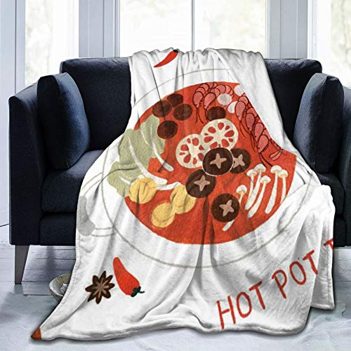 Hot Pot Illustration Cartoon Food Diet Cute Blanket Bed And Sofa Blanket Soft And Fluffy Blanket Futon 127X102 Cm