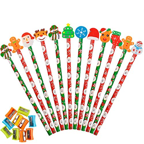 Haojiake 60 Pack Christmas Pencils with Eraser Topper and 10 Pencil Sharpeners, 10 Assorted Shape Erasers, Prize for Kids, Teachers, Schools, Classroom Supplies and Christmas Party Favors