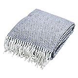 done Wohndecke Blankets Mitch Gemustert mit Fransen - weiche Kuscheldecke Tagesdecke Zickzack - 150 x 200 cm - 60prozent Baumwolle