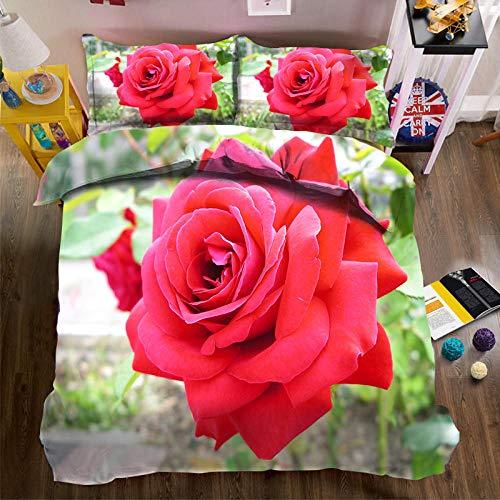 PERFECTPOT Juego De Ropa De Cama 3 Piezas Impresión Digital Flor Roja Fundas De Edredón Poliéster 1 Funda Nórdica con Cremallera Oculta Y 2 Funda De Almohada 260x240cm