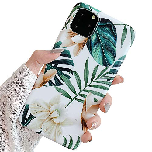New iPhone 11 Pro Max Case for Girls, ooooops Green Leaves with White & Brown Flowers Pattern Design, Slim Fit Soft Clear Bumper Full-Body Protective Cover Case for iPhone 11ProMax (Leaves & Flowers)