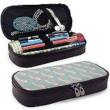 Repetición de pene en estuche azul - Bolso de cuero de PU de alta capacidad Organizador de papelería Bolso de maquillaje cosmético