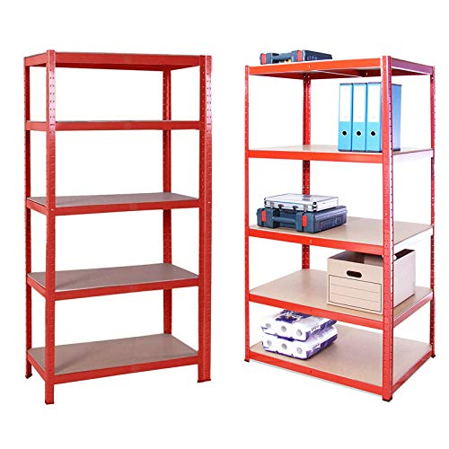 Heavy Duty 5 Tier Metal Garage Shelving Unit Boltless Storage Shelves Shed Kitchen Racking, 150 x 70 x 30 cm MDF Boards Mental Frame Storage Shelves Easy to Assemble, 175KG Capacity Per Shelf, Red