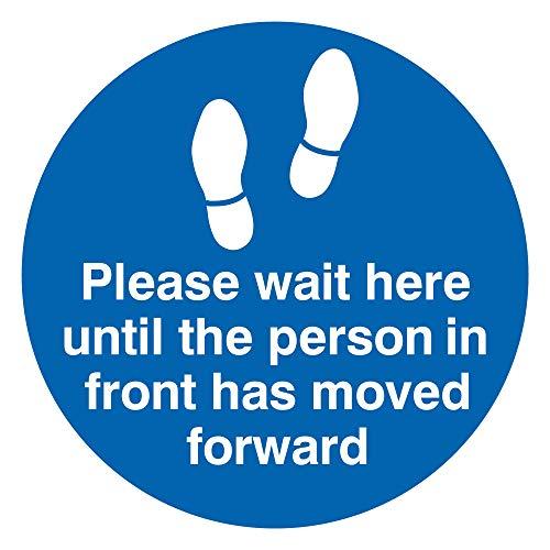 Viking Signs Señal con texto en inglés «Please wait here until the person in front has movido», vinilo para suelo