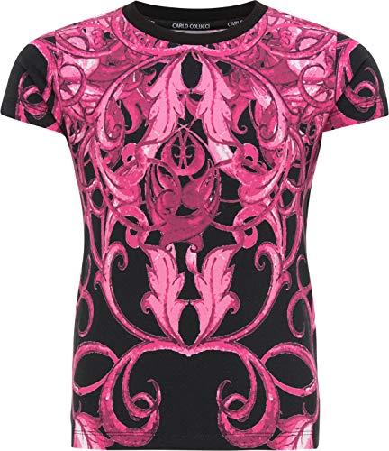 Carlo Colucci Mädchen T-Shirt, Pink-Schwarz Schwarz 170/176