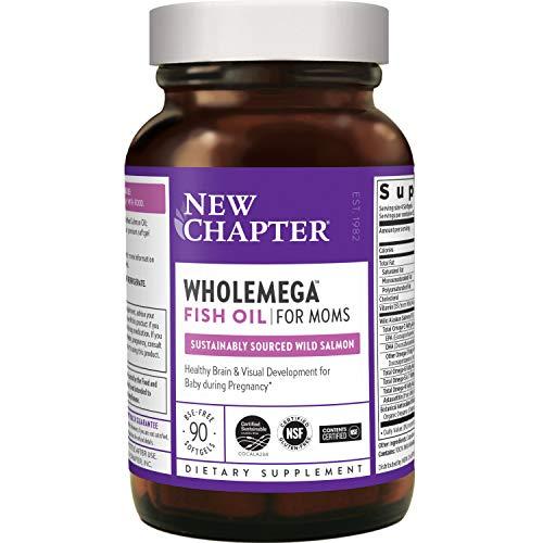 New Chapter Prenatal DHA - Wholemega for Moms Fish Oil Supplement with Omega-3 + Vitamin D3 for Prenatal & Postnatal Support - 90 ct softgels 500mg