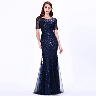 b2aea007451194 BINGQZ Damen/Elegant Kleid/Cocktailkleider Formale Abendkleider Pretty  Mermaid O Neck Kurzarm Spitze Applikationen